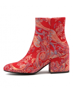 BOSCA RED PAISLEY LEATHER