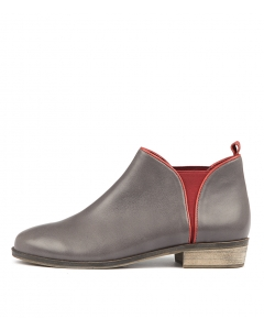 STOLLY CHARCOAL RED LEATHER