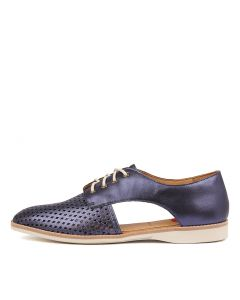 SIDECUT PUNCH NAVY METALLIC LEATHER